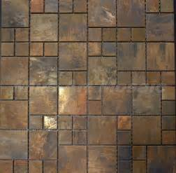 Tin Backsplash Kitchen Copper Mosaic Tile With Antique Bronze Finish For