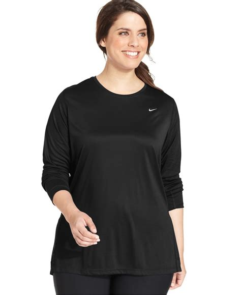 Running S Plus Size Clothing Plus Size Shirts nike plus size sleeve dri fit running top in black lyst