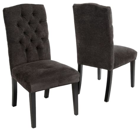 Clark Tufted Back Dark Gray Fabric Dining Chairs Set Of 2 Grey Fabric Dining Room Chairs