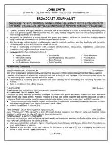 Best Resume Format For Journalist by Broadcast Journalist Resume Sample Amp Template