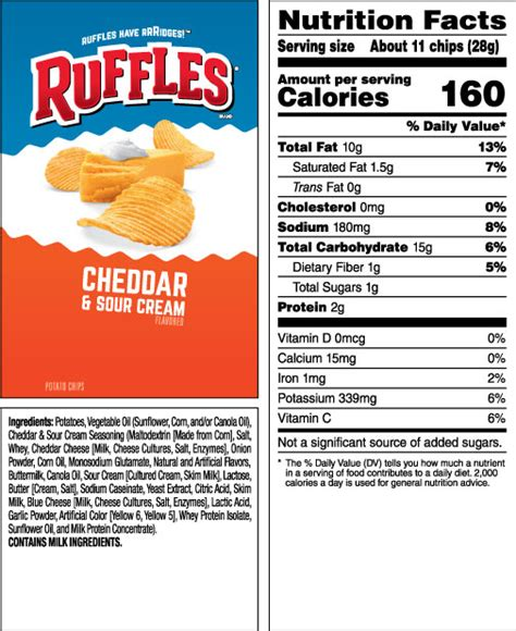 ruffles 174 cheddar sour flavored potato chips