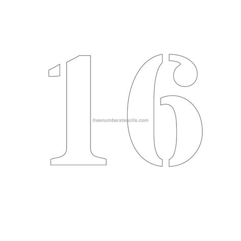 number 16 template free 9 inch 16 number stencil freenumberstencils