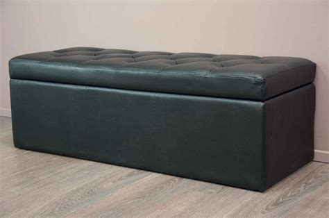 leather ottoman storage box black bed stool storage box faux leather ottoman ebay