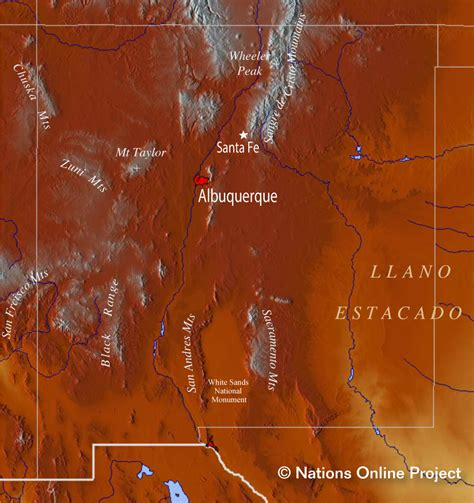 mexico topographic map reference maps of new mexico usa nations project
