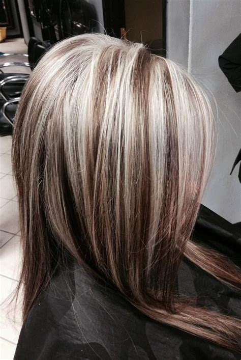 platinum highlights with brown hair heavy platinum highlights on dark hair hair pinterest