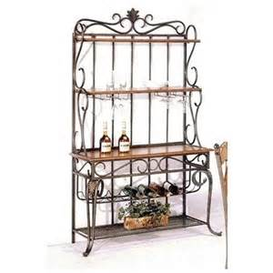 Country Bakers Rack Country Style Wrought Iron Wood Baker S Rack W Wine