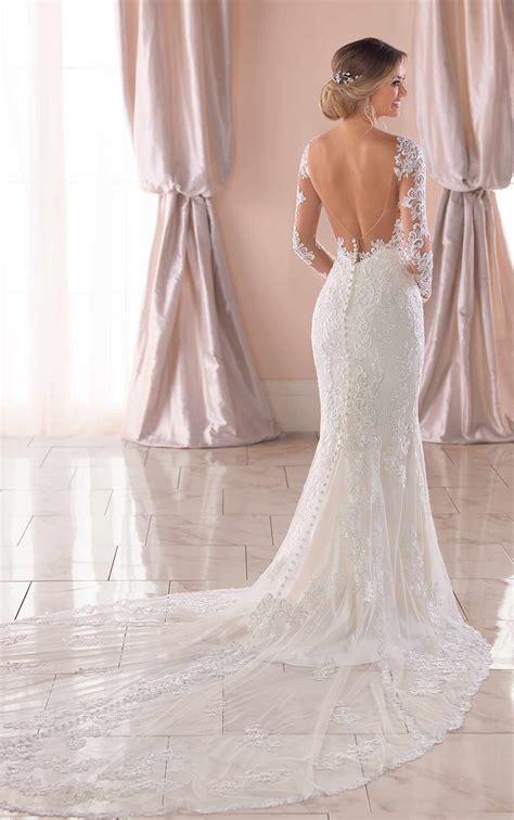 long sleeved wedding dress  open  stella york