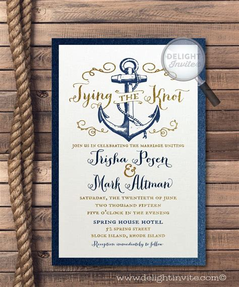 wedding invitations nautical rustic anchor tie the knot wedding invitations nautical