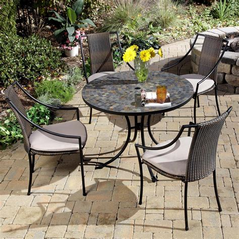 Outdoor Patio Furniture Dining Sets Home Styles Harbor Mosaic Outdoor Dining Set Patio Dining Sets At Hayneedle
