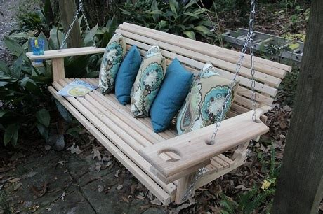 Handmade Porch Swings - 5 cypress handmade porch swing with cupholders southern