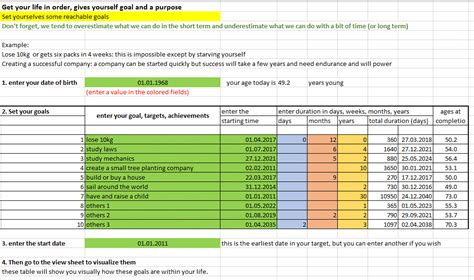 Life Goal Excel Template By Excel Made Easy Goal Setting Template Excel