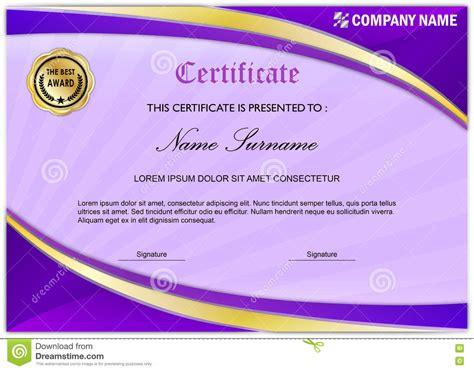purple certificate template modern certificate diploma award template purple gold