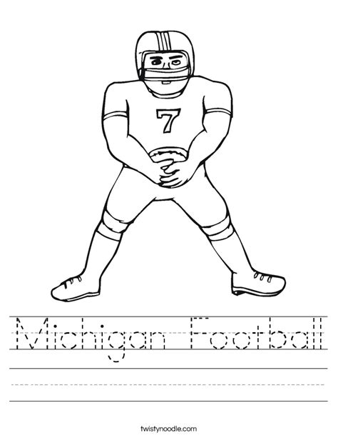 michigan football coloring page michigan football worksheet twisty noodle