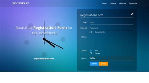 asp login page template free bootstrap registration form