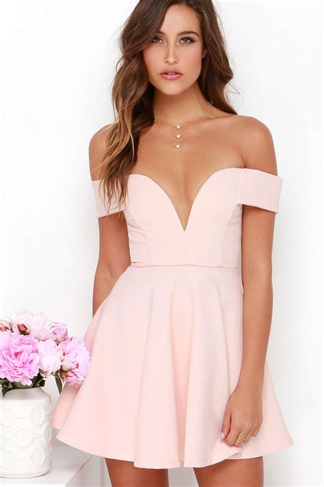 light pink off the shoulder dress cute off the shoulder dress light pink dress skater