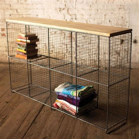 wire mesh cubby shelf with wood top
