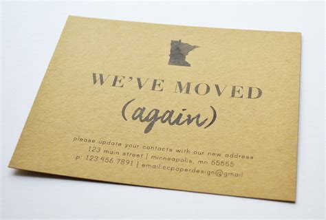 personalized moving announcement new home card set
