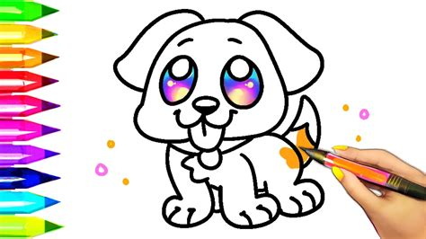 coloring pictures of dogs easy coloring pages for learning colors with