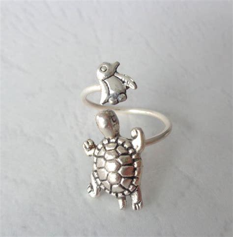 Tortle Adjustable Animal Size S silver penguin turtle ring wrap style adjustable ring animal