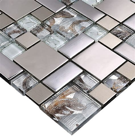 tile sheets for kitchen backsplash glass mosaic tile backsplash ssmt111 silver metal mosaic