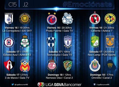 Calendario Chivas Liga Mx 2015 Partidos De La Jornada 2 Clausura 2015 Y Sus Horarios
