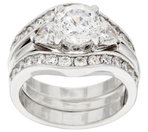 diamonique 100 facet 2 bridal ring set platinum