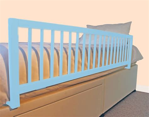 bed guard rail safetots extra wide wooden bed rail blue long wood bed