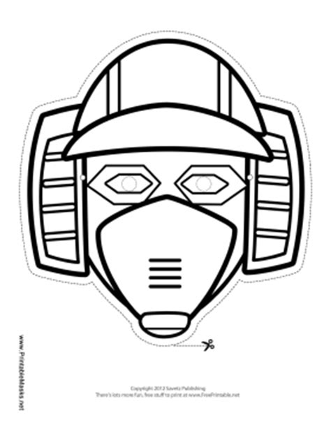printable robot mask printable horizontal robot mask to color mask