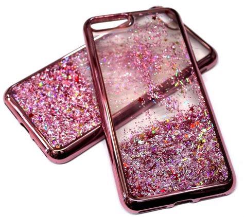 Water Glitter Iphone 7 Plus for iphone 7 plus gold trim pink glitter