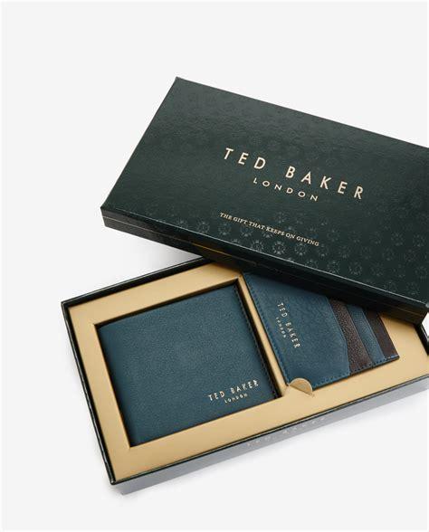 Blue Baker Gift Card - ted baker leather wallet and cardholder gift set in blue for men lyst