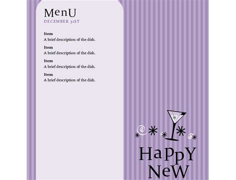 new years menu template new years menu new years dinner menu