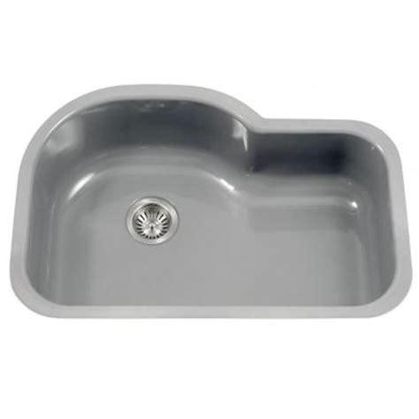 Single Bowl Porcelain Kitchen Sink Houzer Porcela Series Undermount Porcelain Enamel Steel 31 In Offset Single Bowl Kitchen Sink