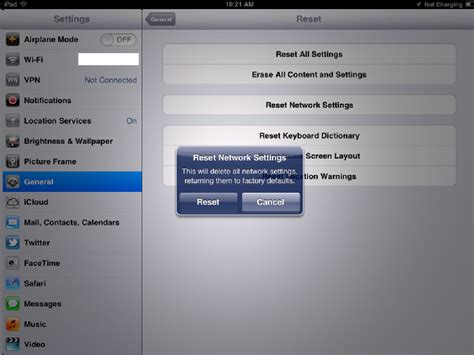 network reset on ipad template 1