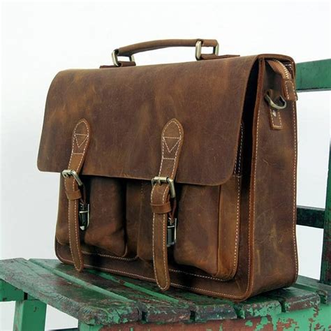 large handmade vintage leather briefcase leather