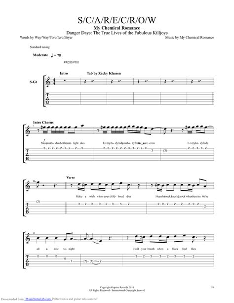 dead eyes glow let love in guitar playthrough scarecrow guitar pro tab by my chemical romance