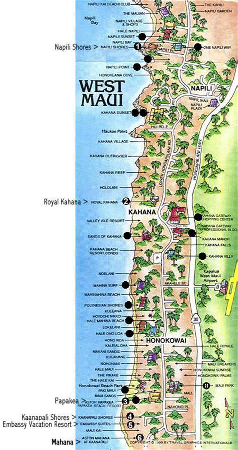 kaanapali resort map map of kaanapali to napili