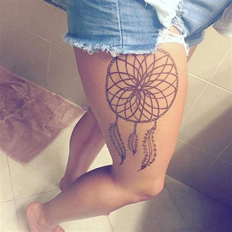 side leg tattoos 35 dreamcatcher tattoos on leg