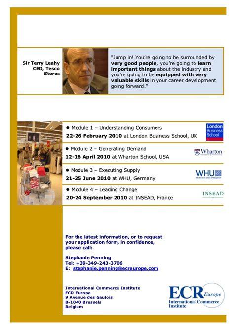 Insead Mba Brochure by Progressive Management Program By Ecr Europe Brochure 2010