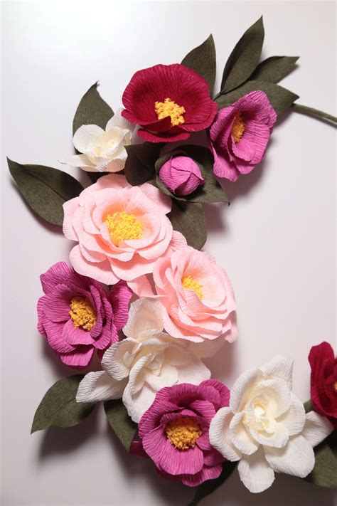 paper camellia flower tutorial crepe paper camellia wreath handmade by papetal papetal