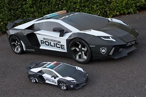 almost size lamborghini replica made from cardboard
