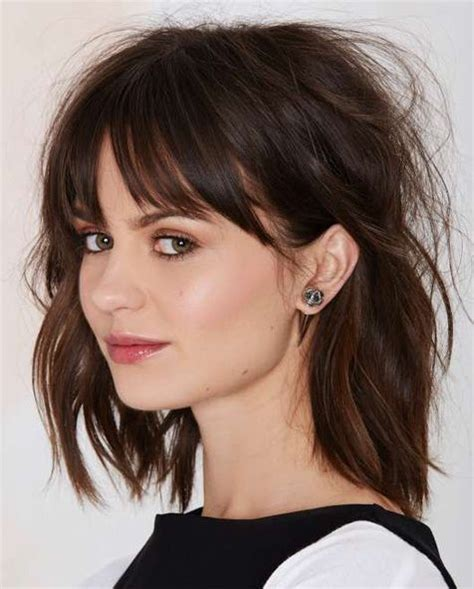 long choppy bob with fringe full fringe pretty hairstyles 2015 2016 long messy bob
