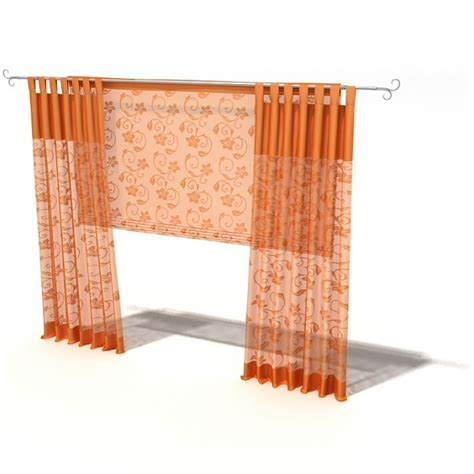 Orange Patterned Curtains Orange Floral Patterned Curtains 3d Model Cgtrader