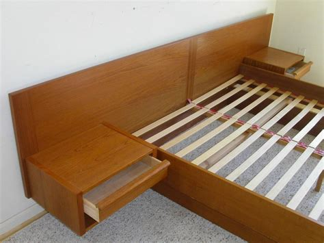 Platform Bed With Floating Nightstands Modern Teak Platform Bed By Jesper Attached Floating Nightstands Ebay