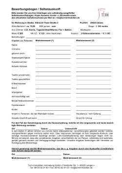 Mieterfragebogen Selbstauskunft by Bewerbungsbogen Selbstauskunft