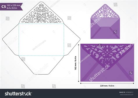 card die cut template die cut envelope template vector standard stock vector