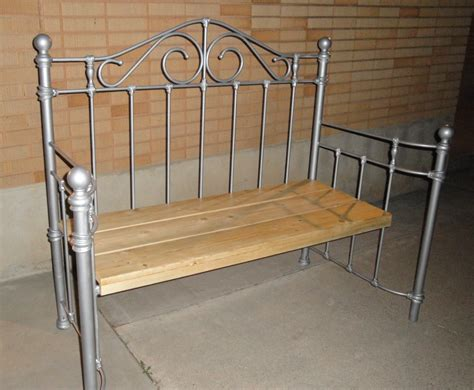 iron bed bench cute bench we made out of our old bed frame furniture