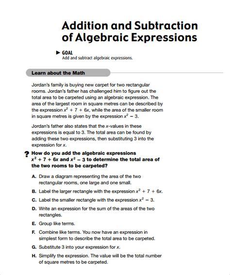 algebraic subtraction worksheets 10 sle algebraic subtraction worksheets sle templates