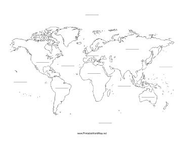 Collection of blank world map continents oceans school pinterest a printable map of the world with blank lines on which blank world map continents oceans gumiabroncs Image collections