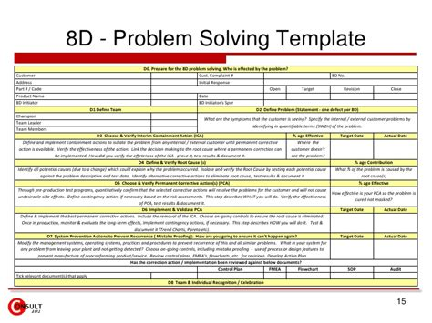 problem solving template excel 8 d problem solving process