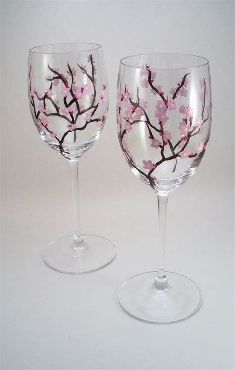Wine Glass Painting Ideas - painted wine glasses ideas light pink cherry blossoms